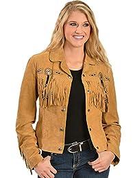 Women's Beaded Fringe Boar Suede Jacket - L152-87