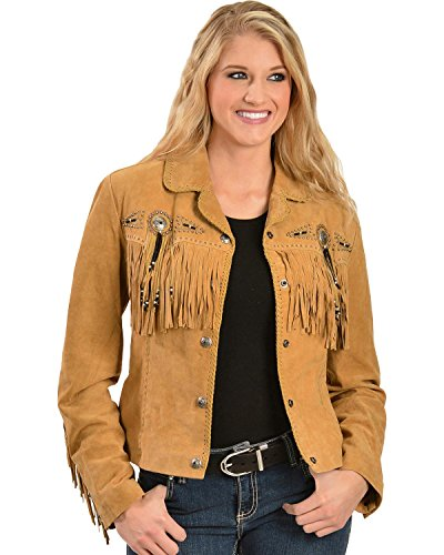 Scully Women's Suede Fringe and Beaded Jacket Rust X-Large