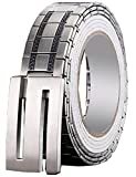 Menschwear Men's Stainless Steel Belt Slide Buckle Adjustable 32mm 154 Silver 120cm