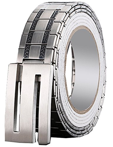 Menschwear Men's Stainless Steel Belt Slide Buckle Adjustable 32mm 154 Silver 120cm by Menschwear