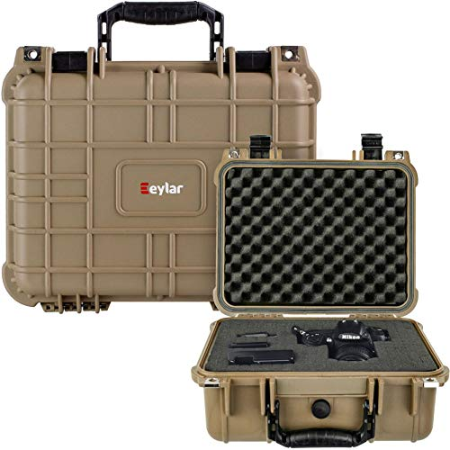 Eylar Protective Camera Hard Case Water & Shock Proof with Foam TSA Approved 13.37 inch 11.62 inch 6 inch Tan
