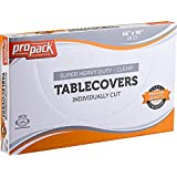 Propack Disposable Heavy Weight Clear Plastic Tablecovers Individually Cut SIZE: 66'' x 90'' 20 Precut Tablecloth In A Box