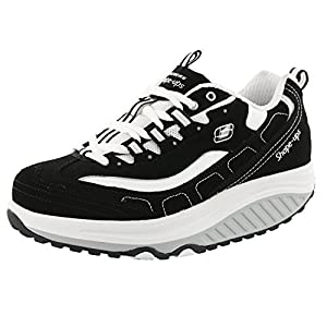 Skechers Women's Shape Ups Strength Fitness Walking Shoe,Black/White,8.5 M US