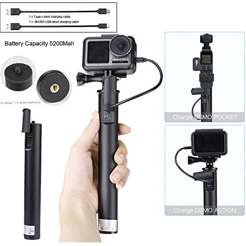 Sodoop Charging Handheld for DJI OSMO Action/OSMO Pocket Camera, Portable Power Bank Extended Handle Bracket Charging Buckle Design with (Type-c +Micro USB) Charging Cable Adapter ()