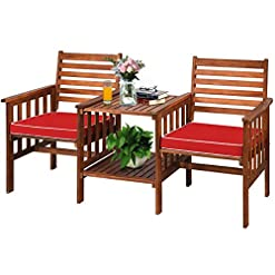 Garden and Outdoor Tangkula Acacia Wood Loveseat, 3pcs Outdoor Table Chairs Set, Patio Conversation Set w/Coffee Table and Soft Cushions, 2…