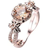 pimchanok Champagne Topaz Wedding Ring 10KT Rose Gold Filled Jewelry Size5-11 (6)