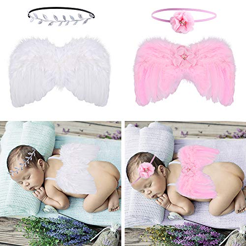Auihiay 2 Sets Newborn Baby Feather Angel Wings Photography Props with Headband for 0-6 Months Baby (White, Pink)