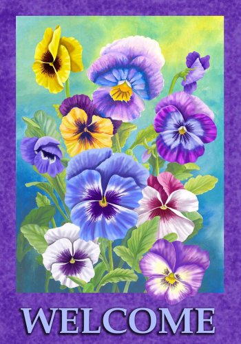 Pansy Welcome - Standard Size 28 Inch X 40 Inch Decorative Flag - Belle Rose Farm Exclusive Copyright & Trademark in USA