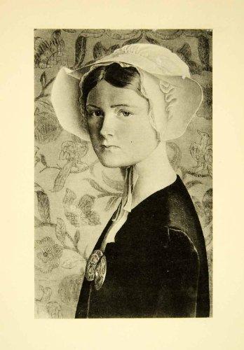 [1931 Collotype Joan Manning-Sanders Self-Portrait Bonnet Costume Artist Girl - Original Collotype] (Black Costumes Bonnet)