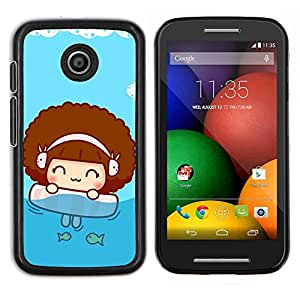 LECELL--Funda protectora / Cubierta / Piel For Motorola Moto E -- deti siluety myach noch igra --