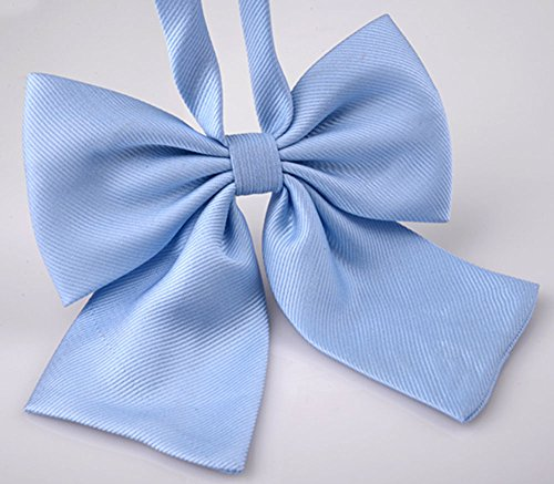 Flairs New York Women Handmade Pre-Tied Bowknot Bow Tie (Baby Blue [Stripes Texture]) by Flairs New York (Image #6)