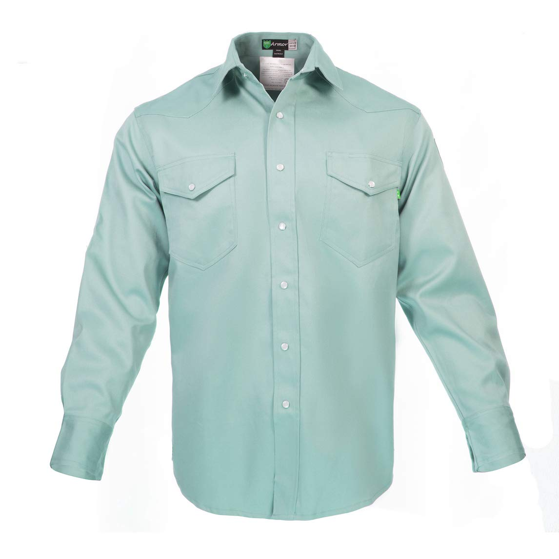 Flame Resistant FR Shirt - Heavy Weight - 100% C - 9 oz (Large, Welders Green)