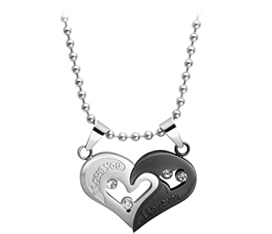 e9416b9daa His & Hers Matching Set Titanium Stainless Steel I Love You Heart with Heart  Couple Pendant