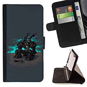 BullDog Case - FOR/LG Nexus 5 D820 D821 / - / Deep Robot & Flower /- Monedero de cuero de la PU Llevar cubierta de la caja con el ID Credit Card Slots Flip funda de cuer
