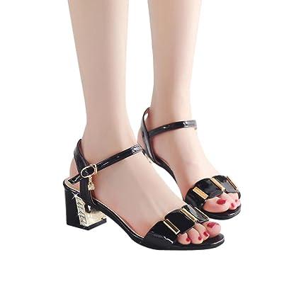 56d16354c47 Ladies Office Wedges Shoes Mid Heel Sandals Size 9 Wedding Shoes Hemlock  (US:8.5, Black)