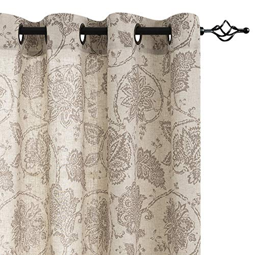 jinchan Floral Scroll Printed Linen Curtains, Grommet Top - Ikat Flax Textured Medallion Design Jacobean Curtains Retro Living Room Curtain Sets (Taupe, 50