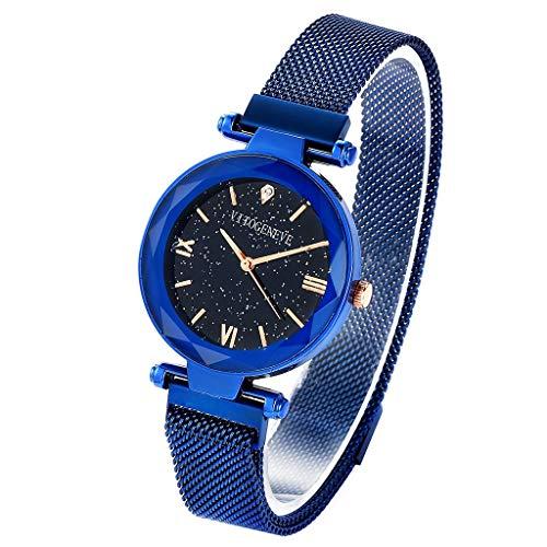 Reloj de las señoras del cielo estrellado, reloj de cuarzo resistente al agua reloj de diamantes magnético reloj perezoso...
