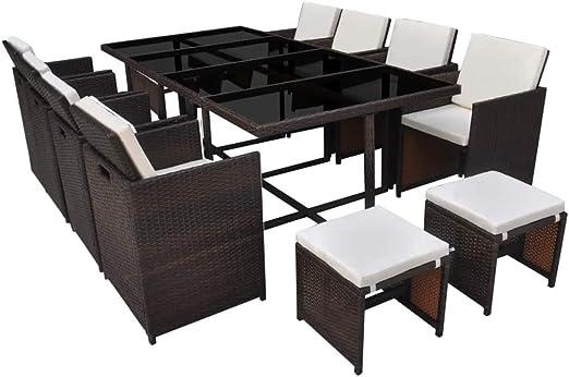 Xinglieu Juego de Mesa y sillas para Exteriores de 33 Piezas en polirratán Marrón Juego de sillas y Mesa de jardín Mesa y sillas de jardín: Amazon.es: Jardín