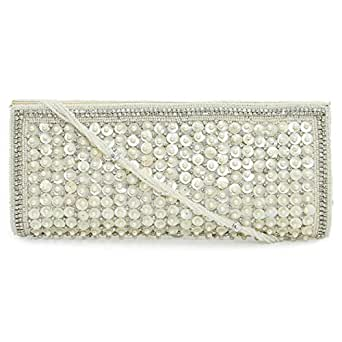 Adaa Fashion MS55 Clutch for Women - Polyurethane, White