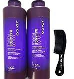 Joico Color Balance Purple Shampoo Plus Conditioner 33.8 oz With FREE Shower Comb
