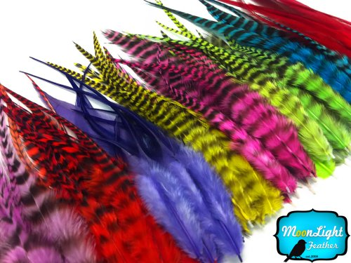 Moonlight Feather Hair Extension Feathers, Colorful Short Rooster Hair Extension Feather Mix - 100 Pieces