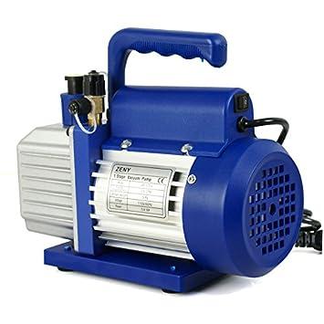 ZENY 3.5CFM Single-Stage Rotary Vane Vacuum Pump for HVAC//Auto AC Refrigerant Recharging w// R134a AC A//C Manifold Gauge Set Combo