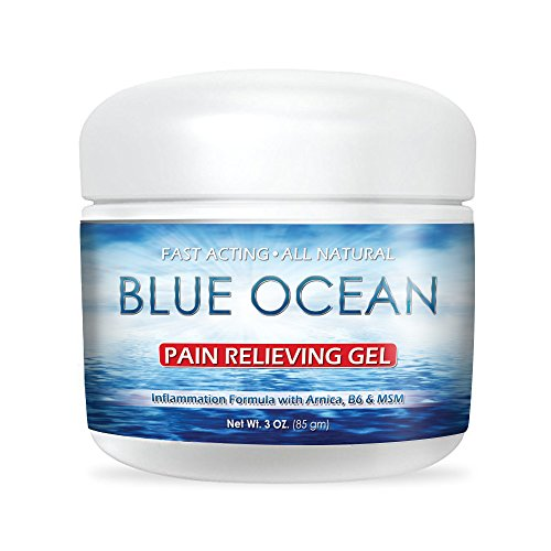 Blue Ocean Pain Relief Gel- 3 Oz. Arnica Cream- Fast Acting, Cooling,Topical Analgesic for Back Pain, Arthritis & Neck Pain. Natural Pain Relief for Muscles, Joints & Bruises. Made in USA. (Cream Analgesic Relief Topical)