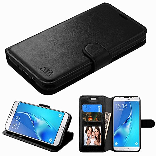 Kaleidio Case for Samsung Galaxy J7 Prime J727T (2017) / Galaxy Halo [MyJacket] PU Leather Hybrid Wallet Flip Book Style Cover w/Card Slot & Foldable Stand Feature w/Prying Tool [Black]