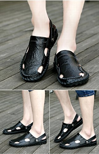 I sandali di cuoio di alta qualità selvatici di estate di modo di estate si dirigono i pistoni manuali di uso doppio, il nero, UK = 8, EU = 42