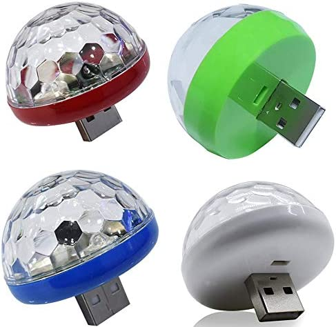 Fantasyworld LED USB Mini Voice Activated Crystal Magic Ball LED Stage Disco Ball Projector Party Lights Flash DJ Lights-White