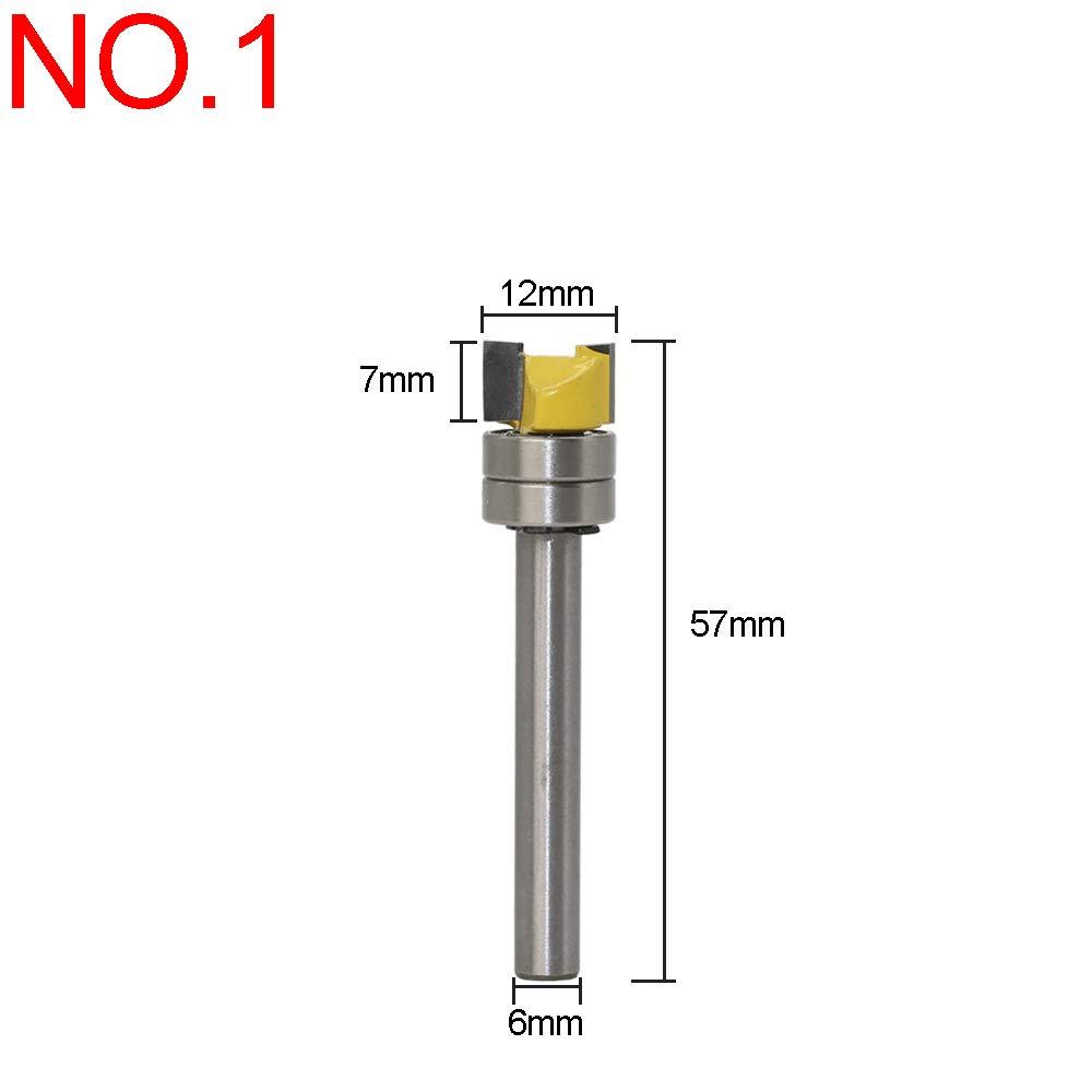 cortador de carpinter/ía con cojinete superior 3Flute con v/ástago de 6 mm tipo 2 Broca para fresado de ajuste recto