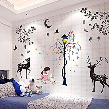 Amazon.com: fefre 3D Wall Art Stickers Bedroom Romantic Bed ...