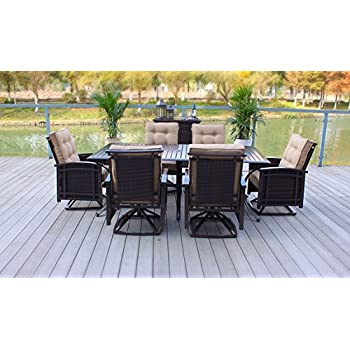 7pc Outdoor Premium Aluminum and Wicker Patio Dining Set