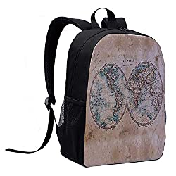 World Map Casual Backpack,The World in Hemispheres Vintage Old Map Design Geography History Theme for College,12L x 5W x 17H