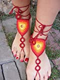 Crochet Barefoot Jewelry Anklet Sandal Bracelet Ankle Chain Toe Ring for Beach Wedding, Beach Pool, Nude Shoes Sandles Shoes Yoga Shoes Wedding Accessory (red)