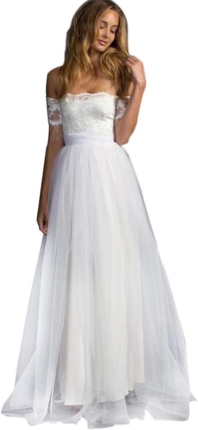 Kolylong® Kleid Damen Frauen Elegant Trägerlos Lang Spitzenkleid