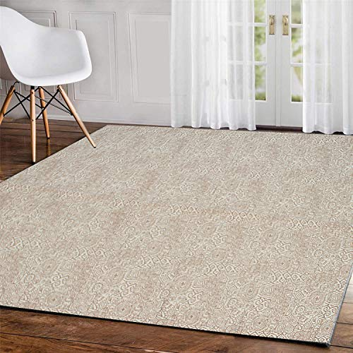 Pauwer Pauwer Cotton Area Rug 4' x 6' Machine Washable Printed Cotton Rugs Hand Woven Cotton Rug for Living Room, Bedroom, Laundry Room, Entryway (4' x 6', TypeC) (Rugs Wash Machine)
