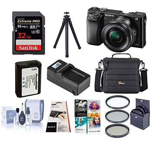 Sony Alpha A6000 Mirrorless Camera with 16-50mm Lens Kit + 3