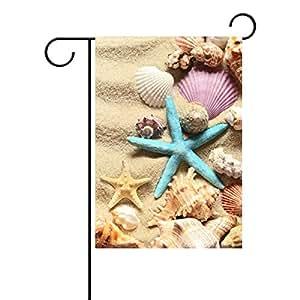 ALAZA Bandera decorativa para jardín de verano, diseño de conchas de playa de arena de poliéster para decoración del hogar y jardín