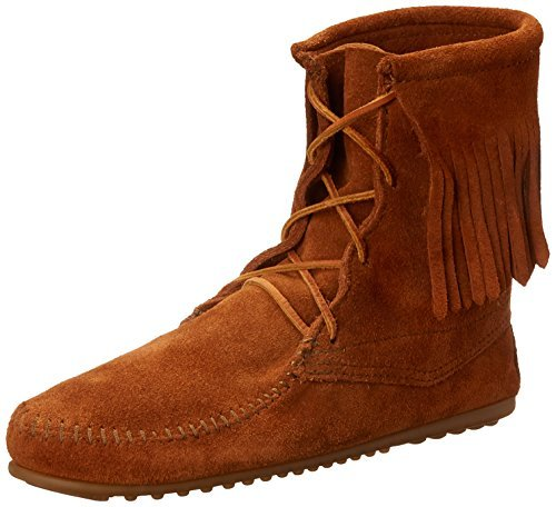 Ankle Hi Tramper Boot (Minnetonka Womens Tramper Ankle Hi Brown Suede Moccasin - 6)