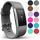 Yousave Accessories For Fitbit Charge 2 Bands, Replacement Silicone Sport Wristband for the FitBit Charge 2 - Available in 14 Colours (Small, Gray)