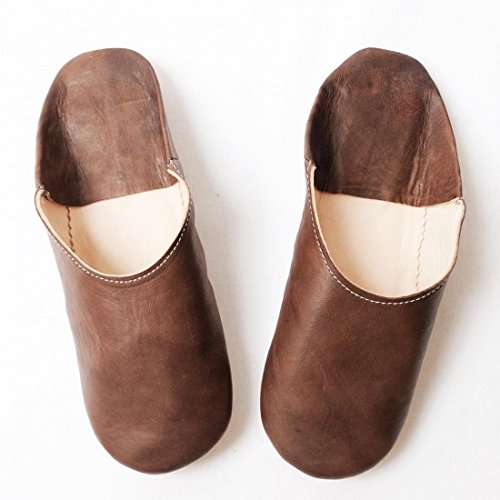 Geachte Marokko Eenvoudige Babouche Schapenvacht Pantoffels Marron (bruin)