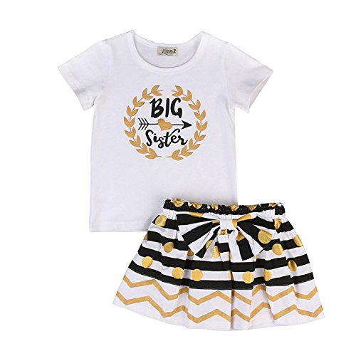 (Kidsa 2-7T Toddler Baby Big Sister Clothes Short Sleeve T-shirt Tops Stripe Gold Dots Skirts Outfits Sets, Big Sister, 90/2-3T)