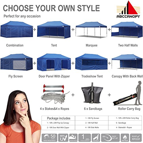 ABCCANOPY Deluxe 10x20 Pop up Canopy Outdoor Party Tent Commercial Gazebo with Enclosure Walls and Wheeled Carry Bag Bonus 6X Weight Bag and 2X Half Walls and 1x Screen Wall (Navy Blue)