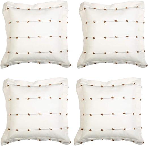 Rc Ocio Fundas Cojin Decoracion para Sofa/Cama/Almohadas Pack de 4 Fundas de Cojines Decorativos de 60x60 para Sofas,Salon, hogar. Funda sin Relleno (Marron): Amazon.es: Hogar