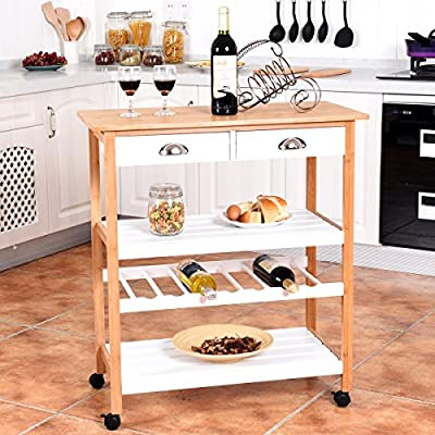 Giantex Rolling Kitchen Trolley Cart w/Drawers & Shelf Bamboo Home Restaurant Mobile Island Utility Cart w/Wheels
