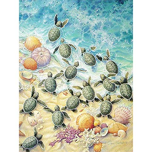 DIY Oil Paint by Number Kit for Adults Beginner 16x20 Inch - Seaside Beach Turtles Shell,Drawing with Brushes Christmas Decor Decorations Gifts (Frameless) ()