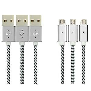 EkoBuy® 3-Pack Cable Micro USB, aleación de zinc con luz LED alta velocidad nailon trenzado USB 2.0a macho a Micro B de sincronización de datos y cable de carga 28/24AWG para Android, Samsung, HTC, LG, Sony, Motorola y más