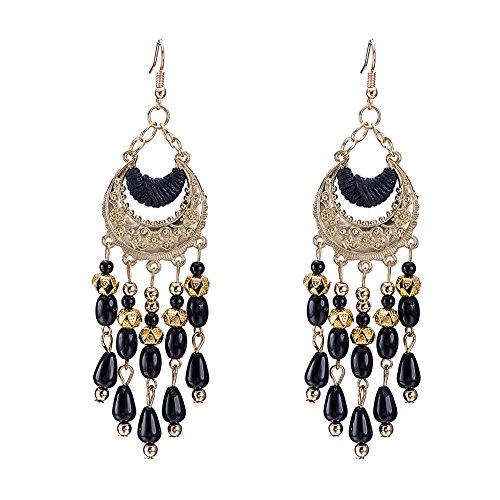 Beaded Indian Earrings Style (Mothers Day Earrings for Women Girls Bohemia Beaded Chandelier Dangle Drop Earrings Black Boho Native American Style)