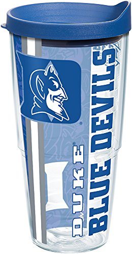 Tervis 1221656 Duke Blue Devils College Pride Tumbler with Wrap and Blue Lid 24oz, Clear